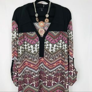 Sami & Jo | Boho Print Shift Dress | Pink | 2X